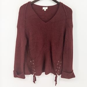 Umgee Burgundy Knit Oversized Sweater Tie Front S